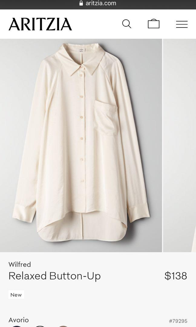 ARITZIA WILFRED RELAXED BUTTON UP SIZE LARGE
