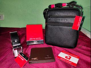 BRAND NEW WITH TAGS PIERRE CARDIN GENUINE LEATHER COLLECTION ( SLING BAG + WALLET + BELT )