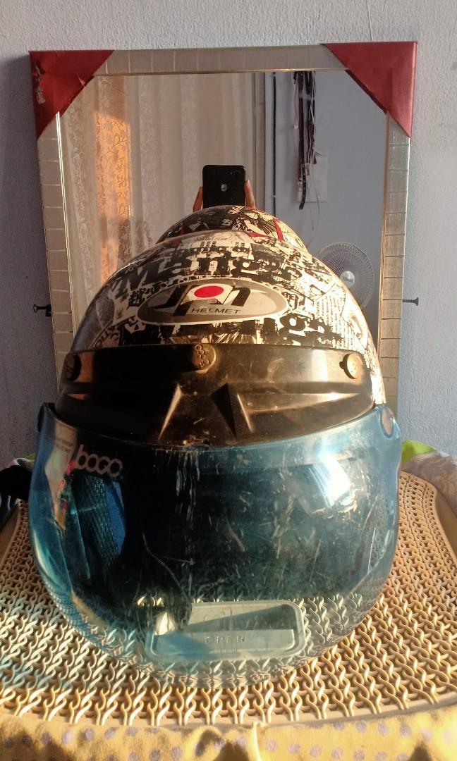 Helm TERMURAH Retro Bogo Kulit Motif Komik Hitam Putih Klasik Kaca Bubble Halfface