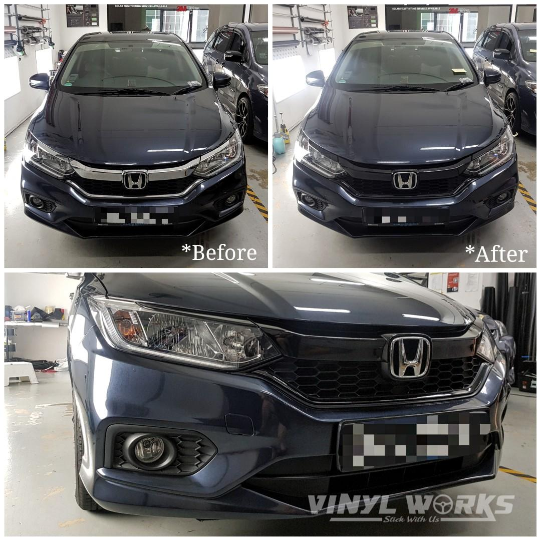 Honda City Front Chrome Grille Wrap Gloss Black Car Accessories Car Workshops Services On Carousell