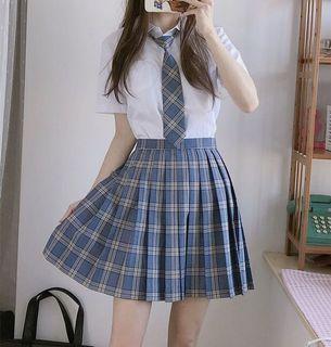 整套JK制服 藍色格紋百摺裙 學生制服 贈領帶