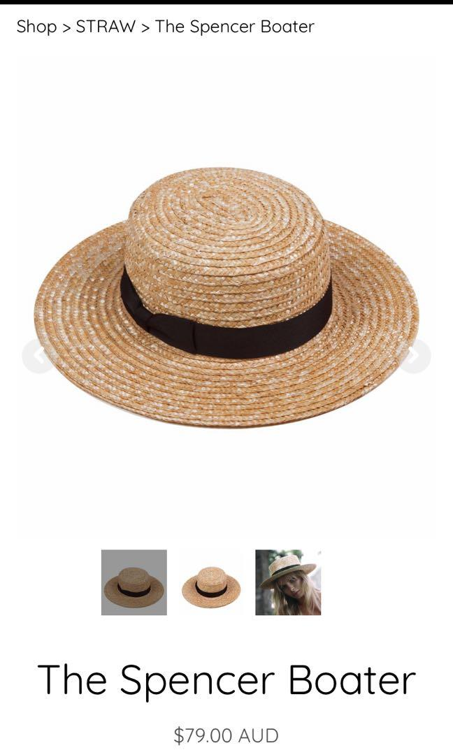 Lack of color Spencer boater  straw hat small