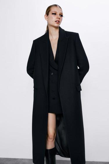 Zara black wool blend coat size small