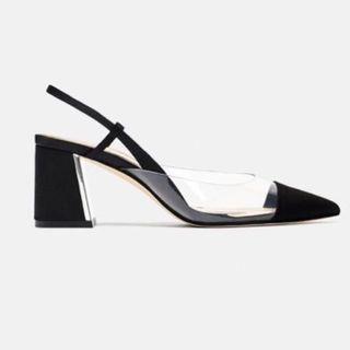 Zara Heeled Slingback Vinyl Shoe
