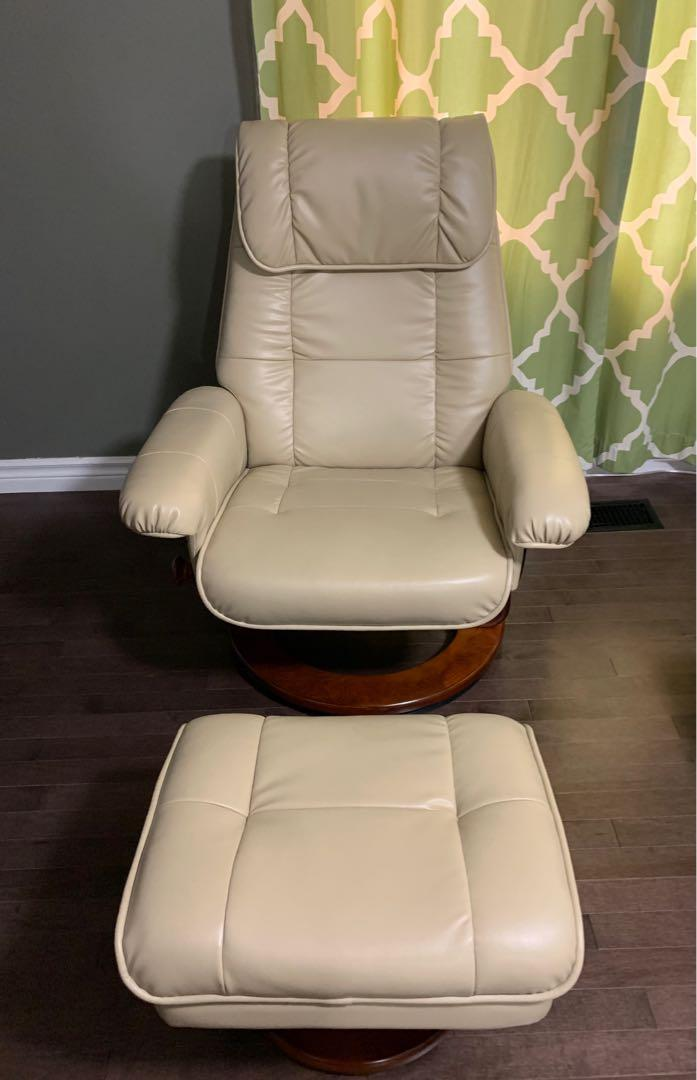 Beige Recliner and Ottoman