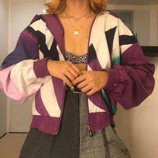 Purple Colorway Abstract Patterned Cotton Vintage Colorblocked Retro Windbreaker Jacket Oversized