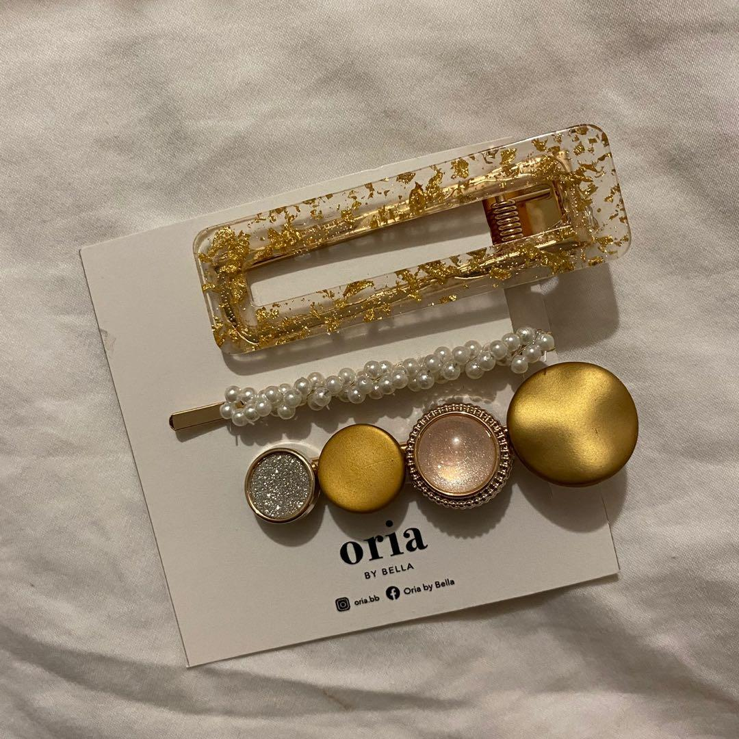 3 piece hairclip set in gold
