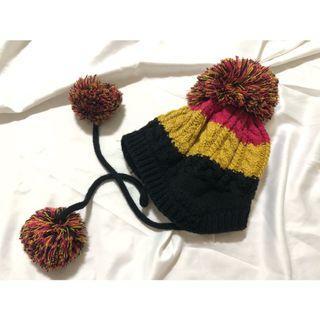 大毛球羊絨內刷毛 厚款 雙層 護耳針織毛帽 秋冬保暖造型帽