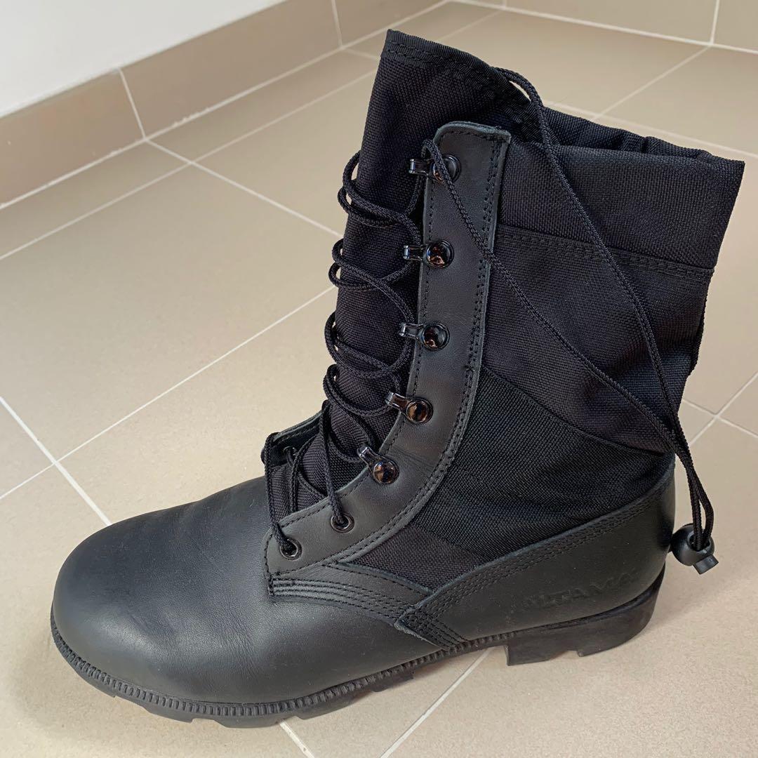 altama black leather combat boots