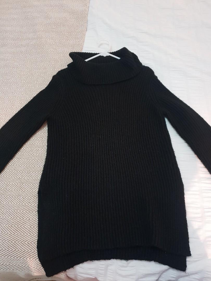 Black fluffy knit jumper