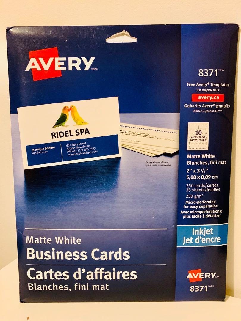 Brand new AVERY 8371 matte white business cards