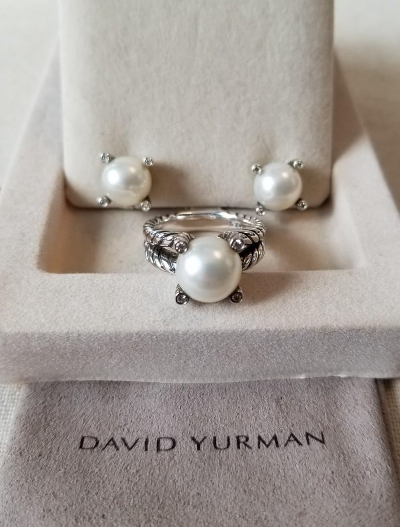 DAVID YURMAN Cable Pearl Diamond Earrings & Ring Set
