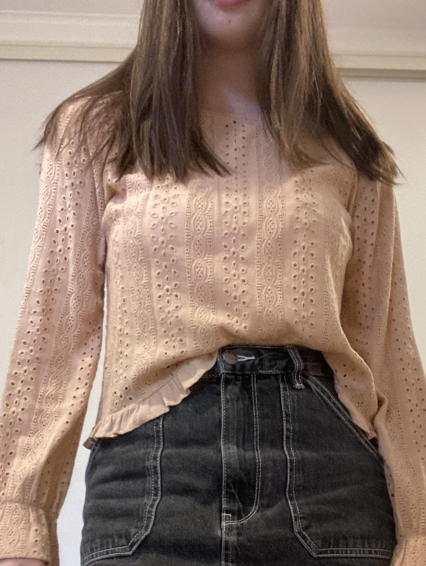Embroidered dusty rose top