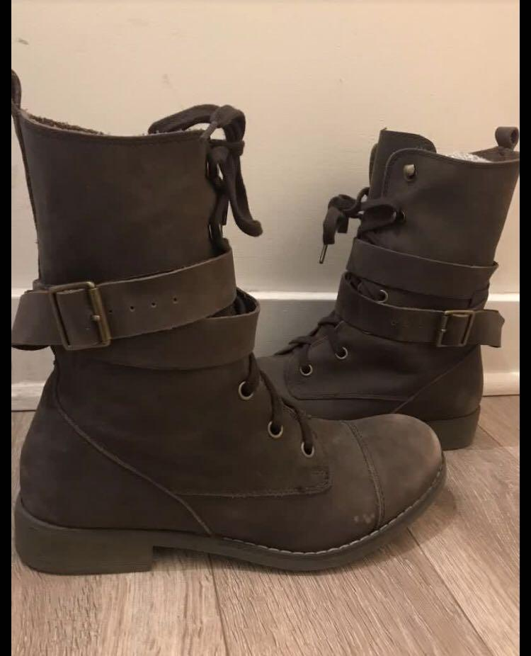 Genuine Leather Women's Combat Boots Size 8