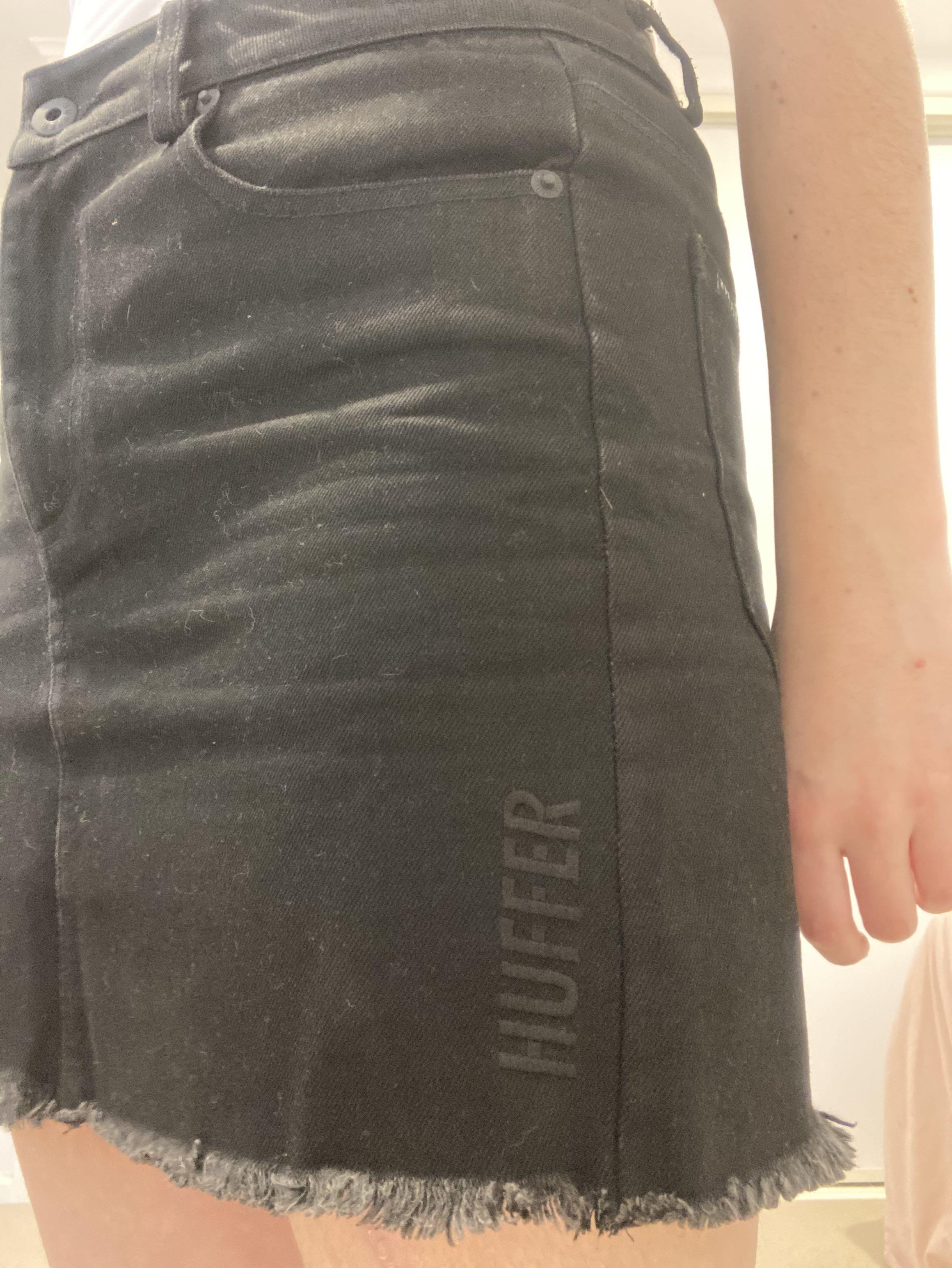 Huffer denim skirt - black