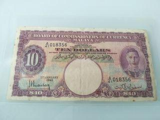 Malaya 1940 KGVI $10
