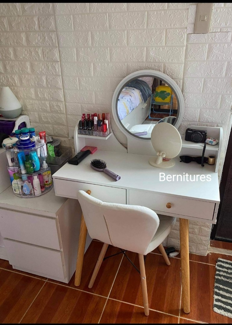 Minimalist Scandi Vanity Table With Led Light Mirror Home Furniture Furniture Fixtures Tables Chairs On Carousell