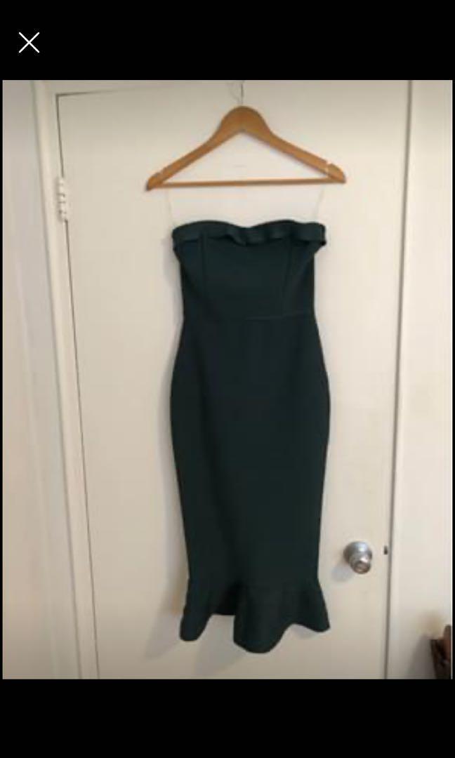 *NEW* green strapless bodycon dress, size M