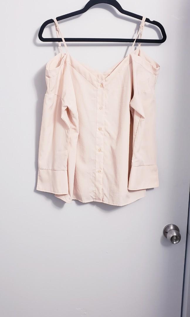 Peach Cold Shoulder Blouse Size S