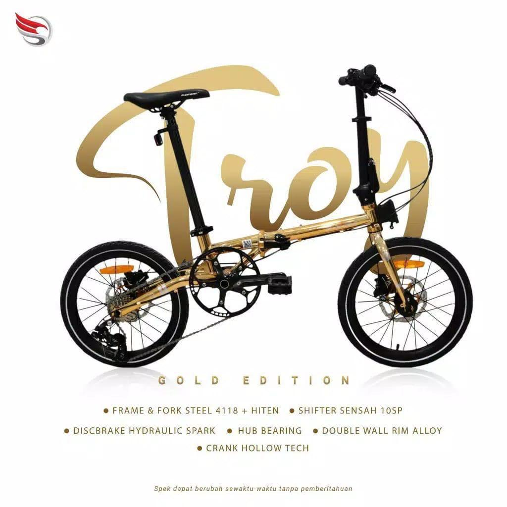 Sepeda Lipat Element Troy Gold Edition Limited