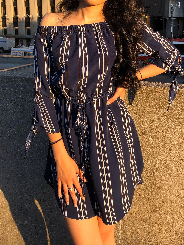 Stripped Navy Blue Dress