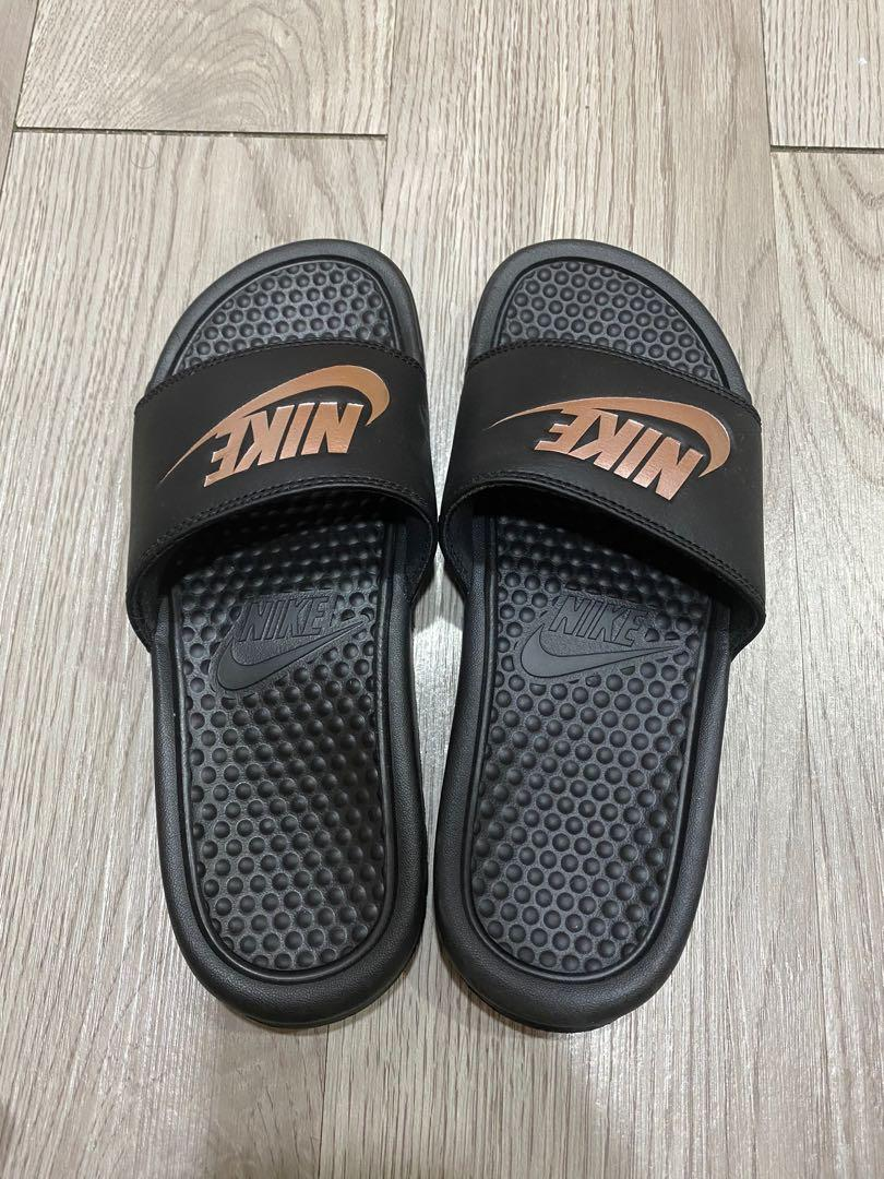 tan nike flip flops
