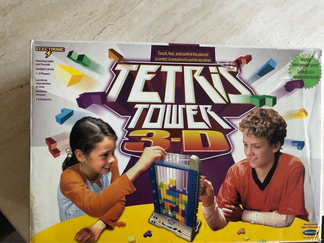 2003 Tetris Tower 3-D Electronic Light Up Game By Radica Vintage TESTED WORKING
