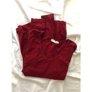 韓版 莫代爾彈性V領長袖棉T 暗紅色內搭衣