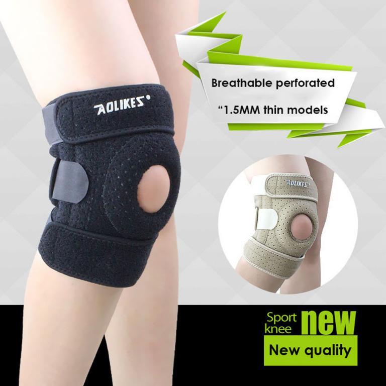 AOLIKES Pelindung Lutut Olahraga Knee Support Brace Fitness Gym Right - A-7906 - Black