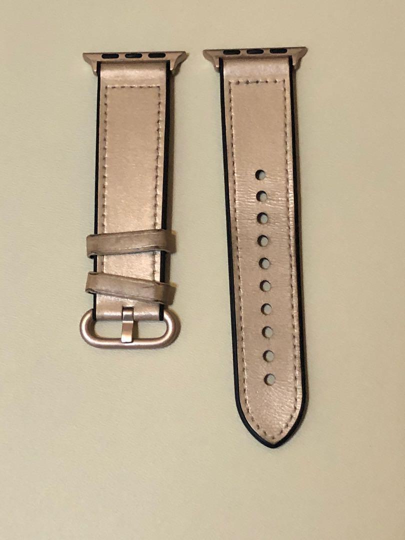 Apple Watch 38/40mm 皮革 絨毛 錶帶