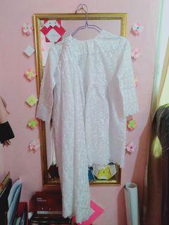 Baju dan Rok Set Anak Perempuan Lengan Panjang Rok Panjang Putih