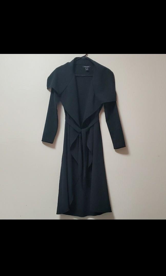 Black waterfall trench coat