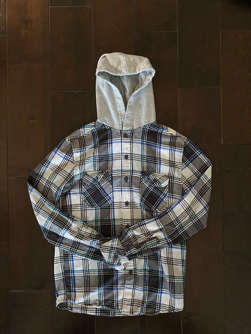 Bluenotes' Flannel Button up Hoodie