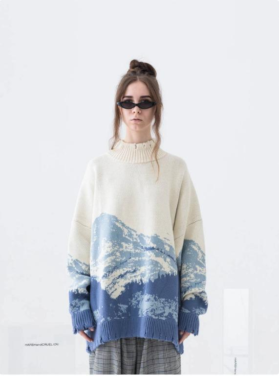 BNWT HARSH AND CRUEL Snow Mountain Ripped Turtleneck