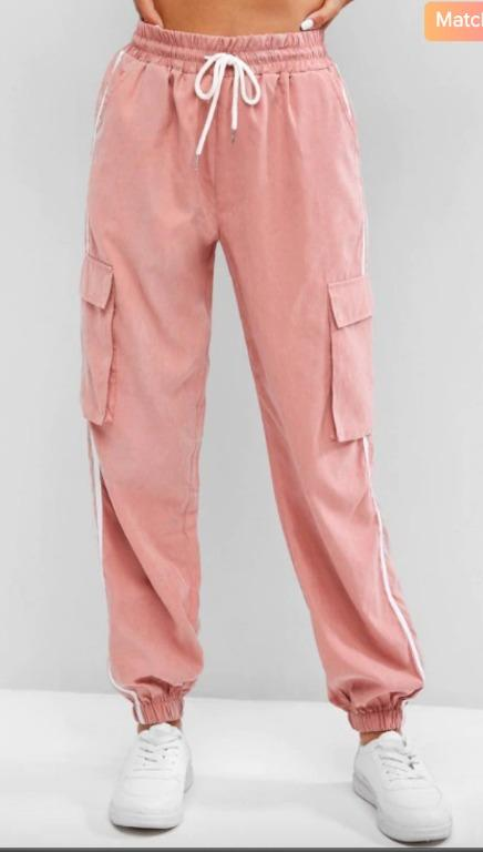 BNWT Pink Side Striped Flap Pockets Pencil Cargo Pants