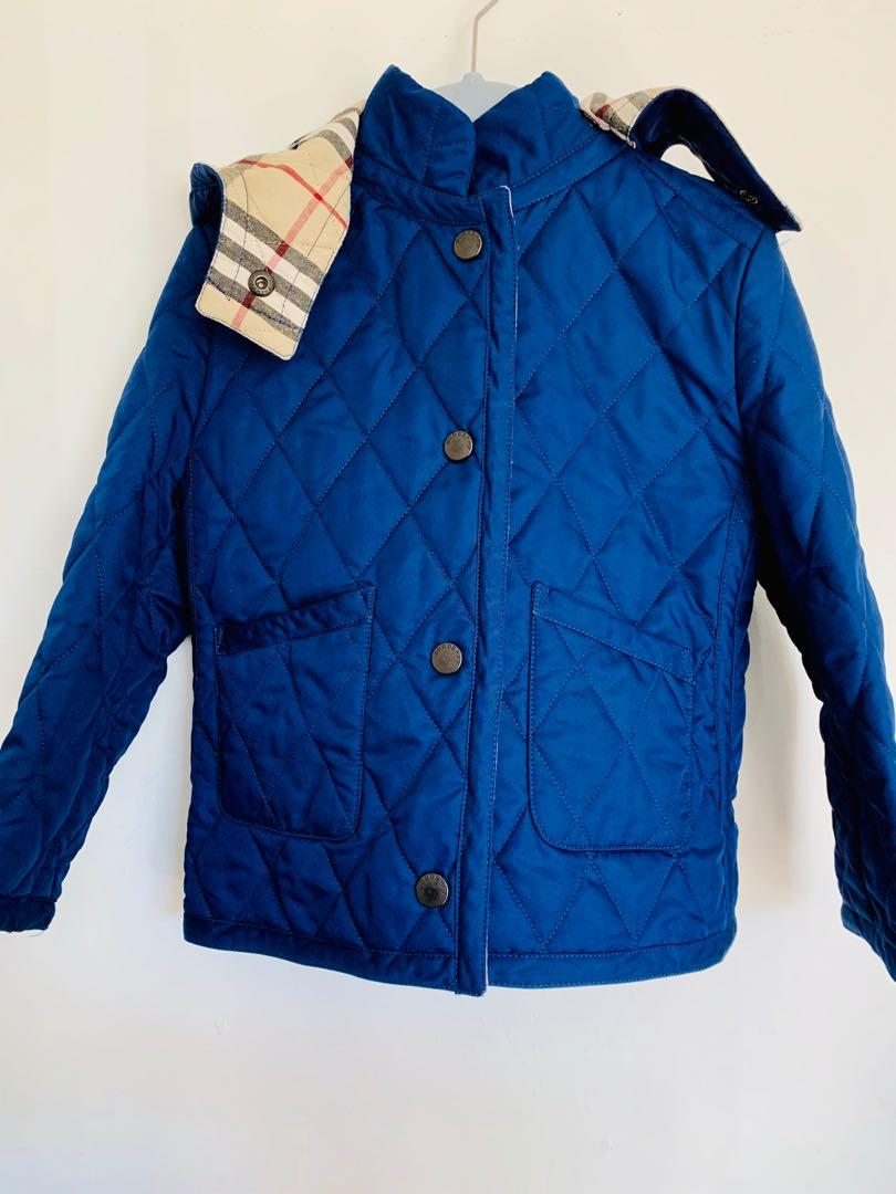 Brand new toddler boys Burberry quilt jacket with removable hood