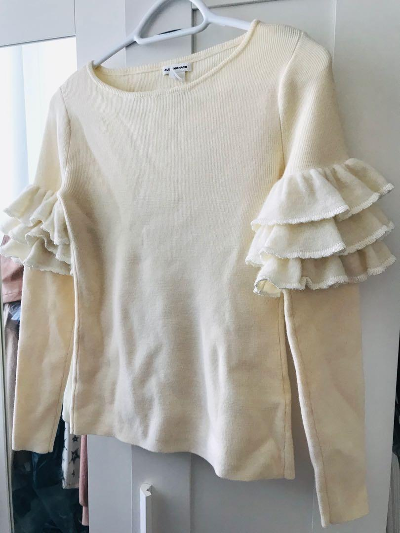Club Monaco ruffle sleeve sweater size XS