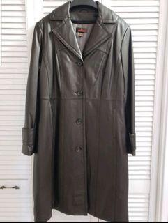 Danier Brown Long Leather Trench Coat (Brand New in Orginal Packaging)