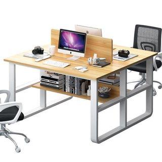 Double Compartment Desk Computer Table with Partition Office Cubicle Desk Laptop Table