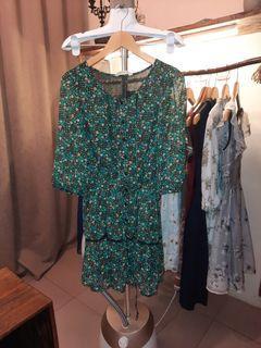 Dress Bunga Hijau Besar Big Size