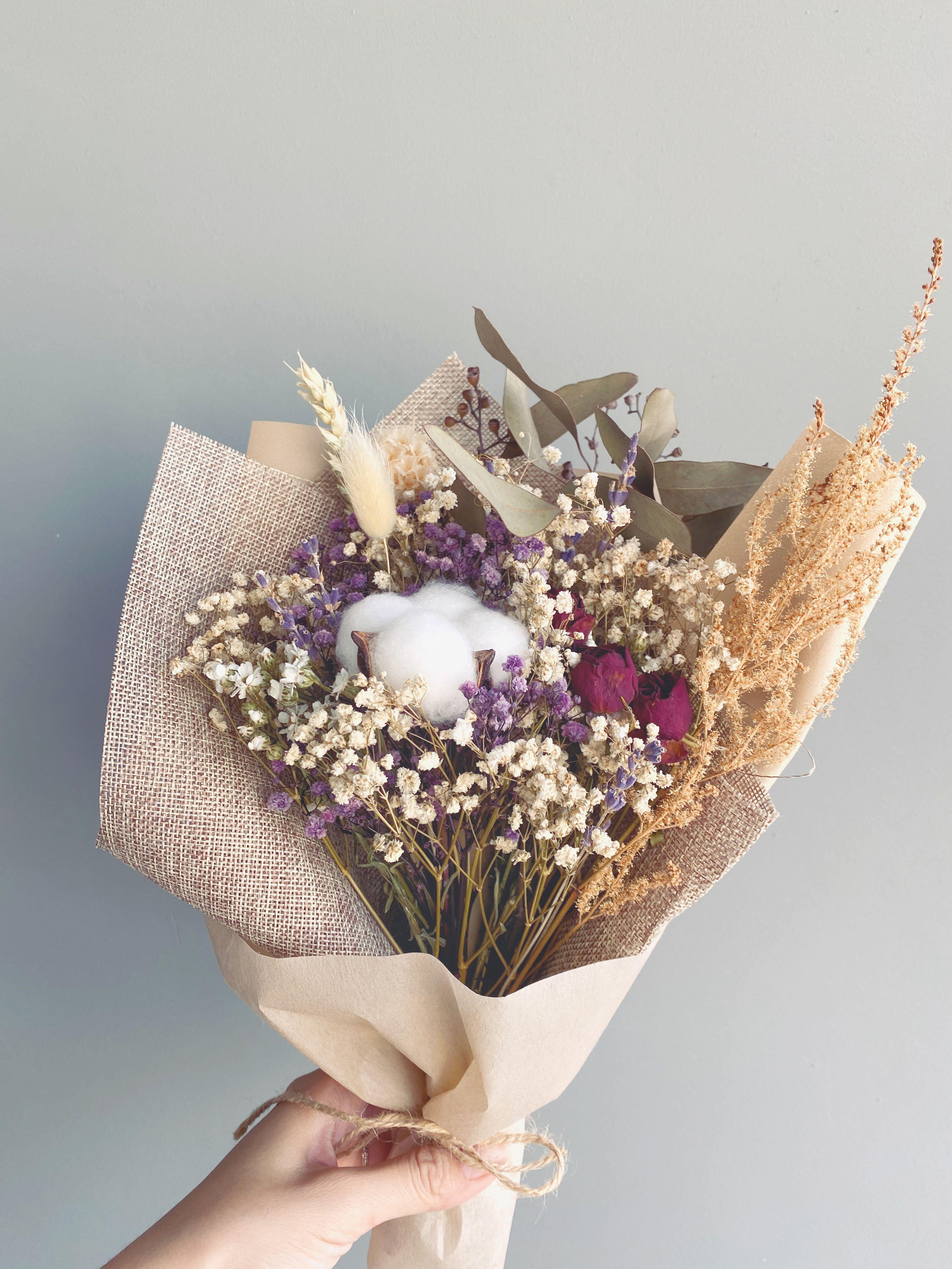 Dried Flowers Bouquet Cotton Flower Free Premium Wrapping Rustic Gardening Flowers Bouquets On Carousell