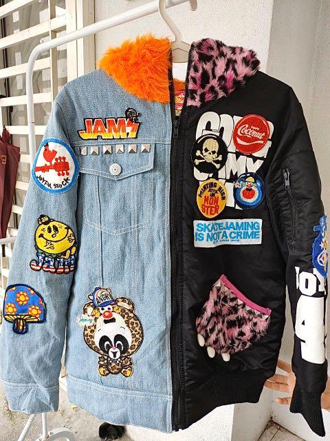 Funky denim patch jacket