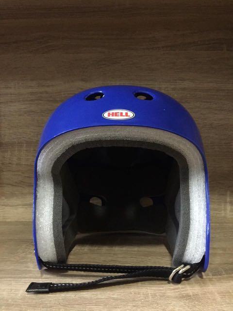 Helm Hell Protec Full Cut Custom Double D Ring Strap Blue Helmet