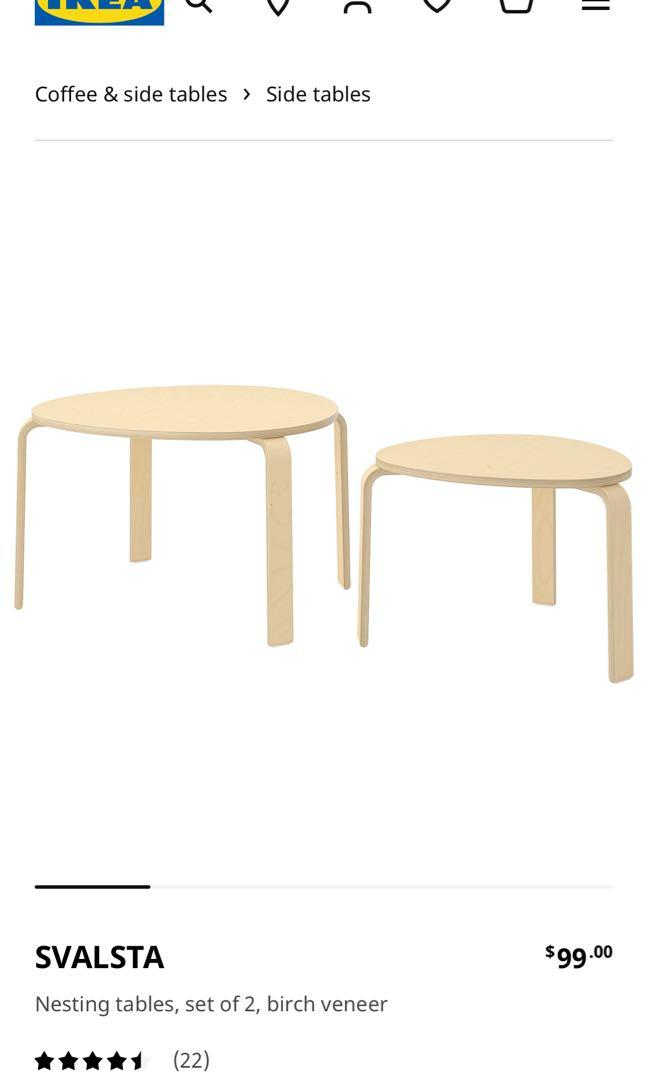Ikea svalsta set of two coffee/side tables