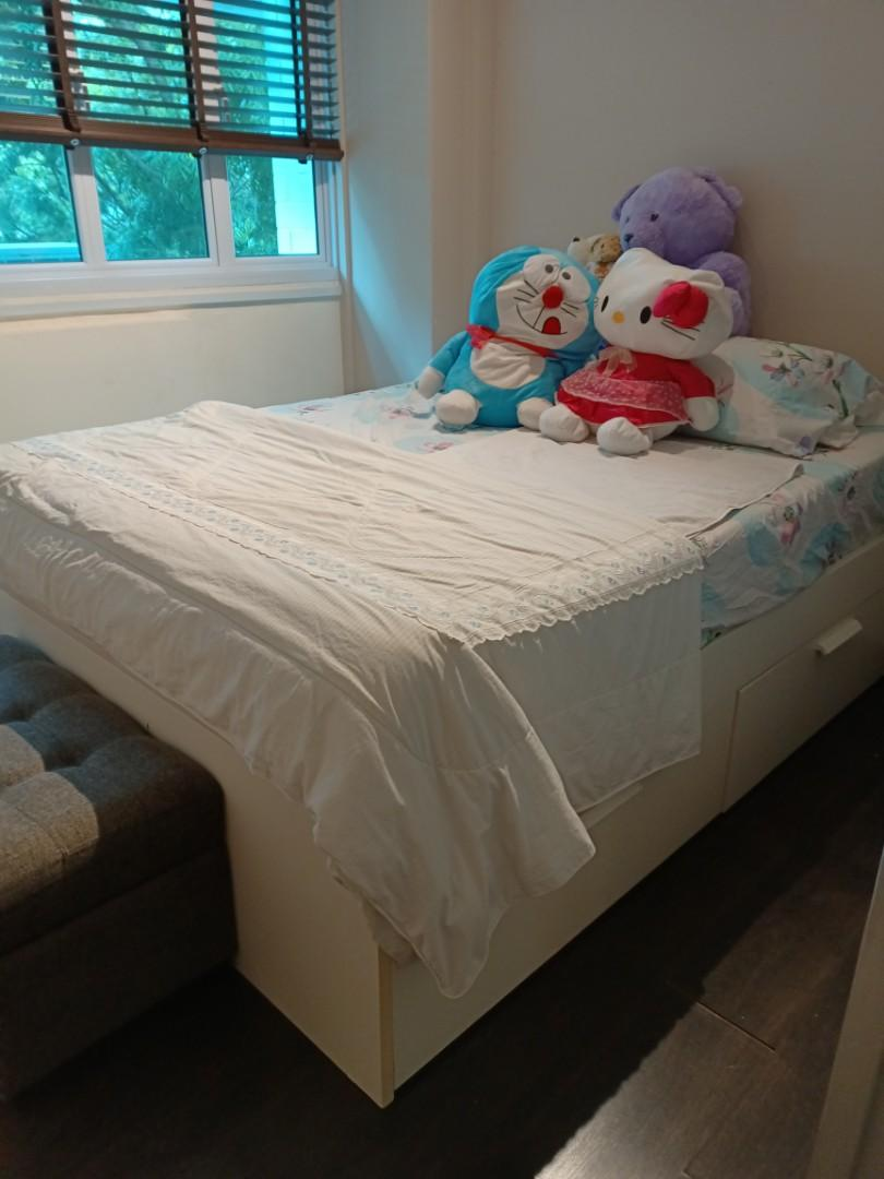Picture of: Ikea White Queen Storage Bed Furniture Beds Mattresses On Carousell