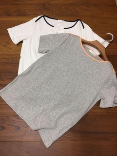 2件INDEX 氣質滾邊短袖T-shirt  淺灰色&白色