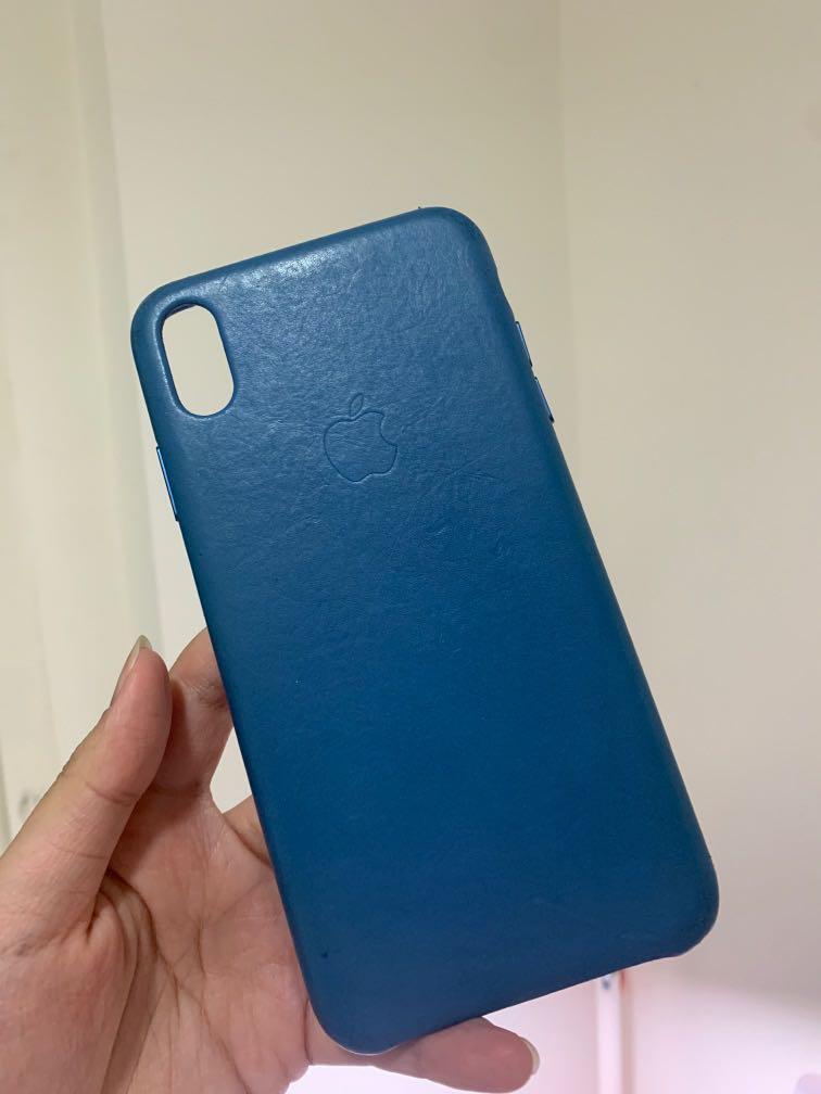 iPhone XS max皮革藍色原廠手機殼