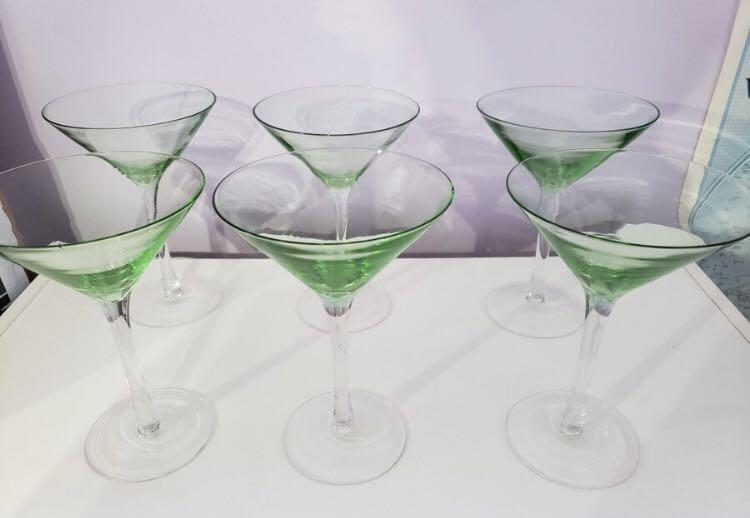 Jade Martini Cocktail Glasses
