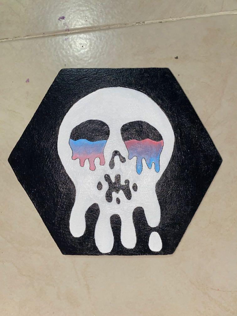 melting skull painting