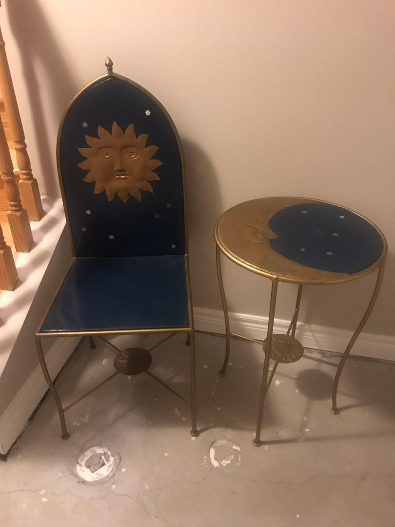 Metal table and chair